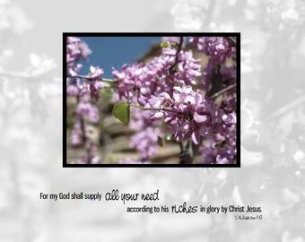 For My God Shall Supply All Your Need| King James Version | Phil 4:19 |  8 x 10 Print Only, Framed, Frameless or Canvas Scripture Art