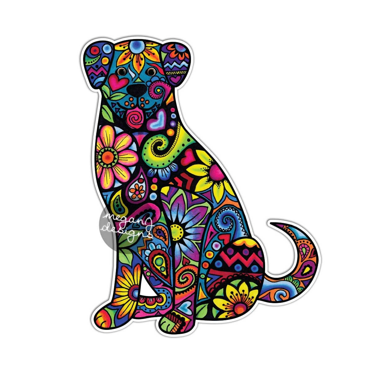 Dog Car Decal Colorful Flowers Laptop Decal Bumper Sticker