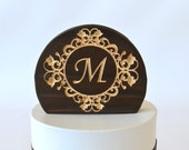 Scroll Frame Wedding Cake Topper, natural burned wood with your personalized letter