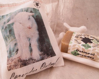Organic Lavender Oatmeal Goat Milk Soap that comes in gift bag featuring one of our goats