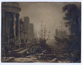 Old PHOTO taken at a LONDON Art Gallery of a painting or art piece with Ships and Roman looking Architecture Antique Vintage PHOTO
