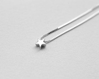 Tiny Star Silver Necklace,  Delicate Star Necklace in Sterling Silver