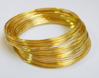 Bracelet Memory Wire gold plated stainless steel 2.25 inch 0.6mm 23 gauge 25 loops PMW5-G