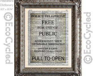 British Police Box Sign on Vintage Upcycled Dictionary Art Print Book Art Print Time Recycled Repurposed Time Travel Time Lord bookworm gift