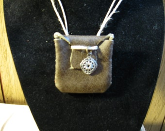 Olive Genuine Leather Mini Pouch Necklace