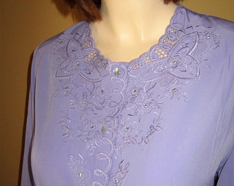 80s HAND EMBROIDERED Silky Lavender Blouse w Rhinestone Accents GLORIOUS Bust 40
