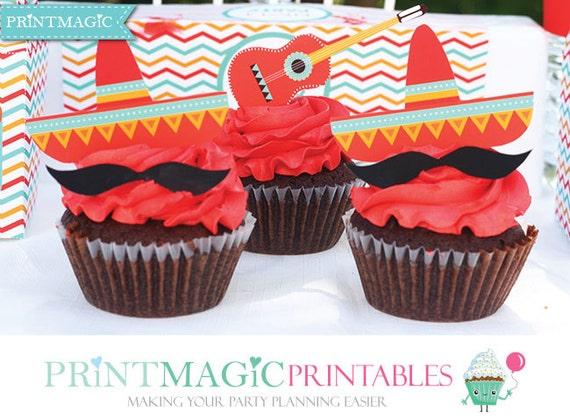 fiesta cinco de mayo party cupcake toppers fiesta birthday