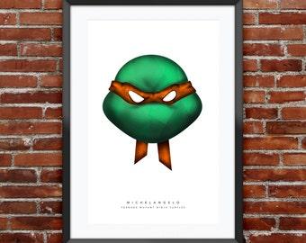"TMNT Michelangelo Print 11X17"""