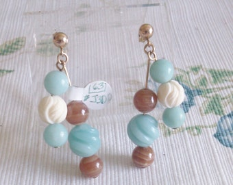 Double Dangle Amazonite,Brown Rosacrosite and Carved Bone on Gold Filled Ball Posts