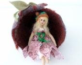 Gumnut Fairy art doll cloth fairy needle felt gumnut soft sculpture home decor creation