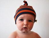 Stripy babies hat orange blue jersey stripey purple baby kids childrens child striped fabric beanie toddler single knot knotted stripe hats