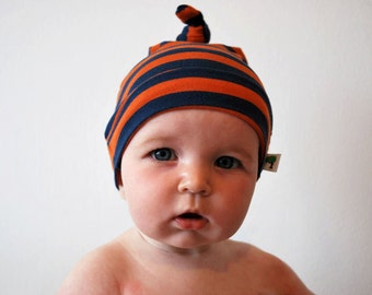 SALE - Stripy babies hat 0-3mths orange blue jersey stripey purple baby kids child striped fabric beanie toddler single knot knotted hats