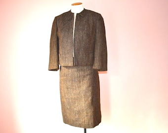 50's 60's Brown Tweed Skirt Suit  Cropped Jacket and Pencil Skirt Modern Size  Small  - VDS122