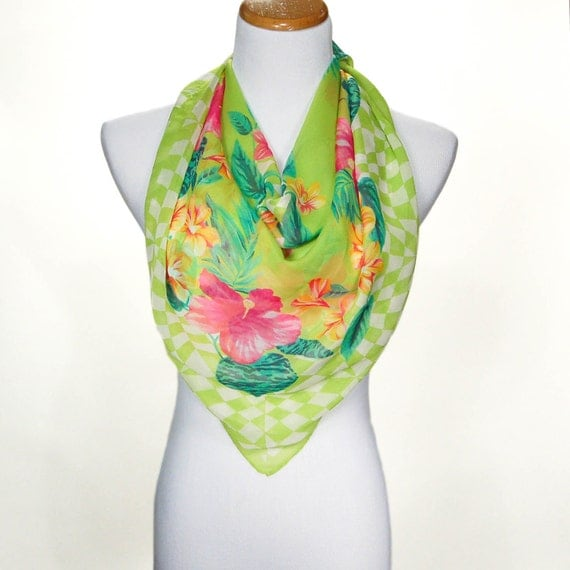 pink and green tropical silk scarf made in italy tropical