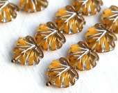 Czech glass leaf beads - Amber Yellow, silver inlays, Maple leaves - 11x13mm - 10Pc - 0384
