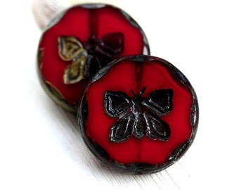 2pc Red Butterfly Focal beads, 26mm Extra large beads - Dark Red with Picasso finish, czech glass, table cut, butterflies - 1775