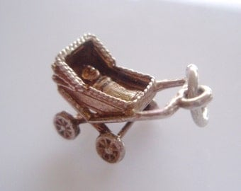 Toby Silver Carriage Pram & Baby Charm