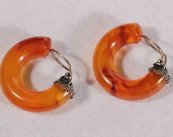 Vintage Art Deco Bakelite Clip On Earrings Thick Amber Color 1930s French Jewellery