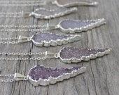 Angel Wing Necklace: Purple and Pink Druzy Pendant with Sterling Silver, Layering Jewelry