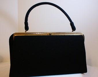VTG 50's Structured Wool Black Handbag