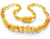 Raw Unpolished Baltic Amber Teething Necklace Light Cognac Color Beads