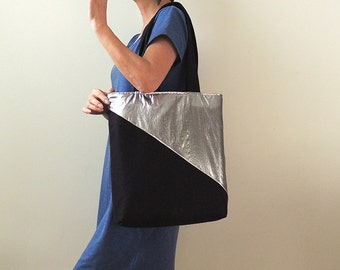 Midnight Stars Tote : Metallic Silver and Black Wool Tote Bag