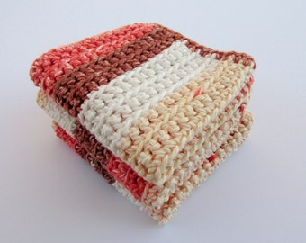 Crochet Multicolor Dischcloth Set 3 Cotton Washcloths