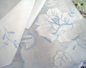 1950's Vintage White Hanky, Blue Raised Embroidery, Shadow Work Rose, Hand Rolled Hems, Excellent