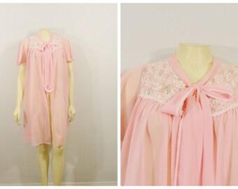 Vintage Peignoir Robe Pink Sheer Chiffon & Lace Dressing Gown Robe Size Medium Modern Medium to Large M - L