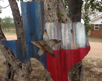 Rustic tin texas decor -  Texas Flag - Corrugated Texas decor - Texas home decor