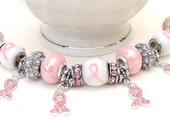 Pink Ribbon Charm Bracelet with Crystals and Pink Rhinestone Studded Ribbon Charms