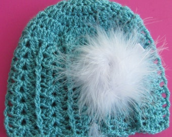 Baby girl crochet beanie with a detachable feather pouf for 6 to 12 mos.