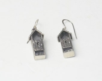Sterling Silver Vintage Earrings Detailed Funny Out House Fine Jewelry Dangle Wire Pierced