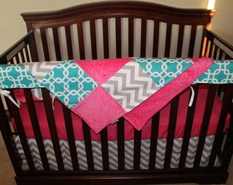 Baby Girl Crib Bedding - Turquoise Gotcha, Gray Chevron, and Hot Pink Crib Baby Bedding Ensemble with Patchwork Blanket