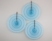 Baby Shower Decoration // Paper Fans, baby showers, birthday parties, bridal showers, light blue // SET OF 3
