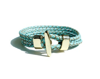 Braided Leather Bracelet - Blue