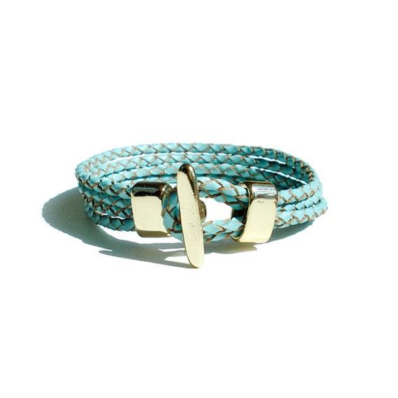 Braided Leather Bracelet - Blue