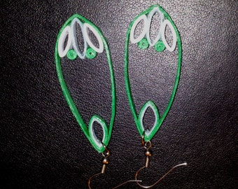 Green and Blue Quilled Paper Earrings