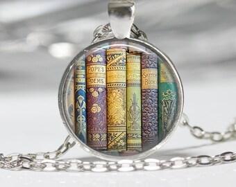 Book Necklace Book Jewelry Book Lovers Pendant Purple Blue