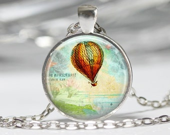 Vintage Steampunk Jewelry Steampunk Airship Necklace Glass Pendant Hot Air Balloon Necklace