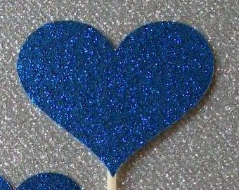 12 Heart Cupcake Toppers Sparkling ROYAL BLUE HEARTS Wedding Cake Decorations Food Picks