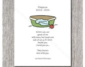 Personalized - Grieve not, nor speak of me with tears, but laugh and talk of me - Loss of Pet, Sympathy Card