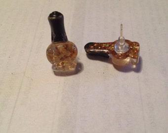 Small Glittery Nail Polish Earrings