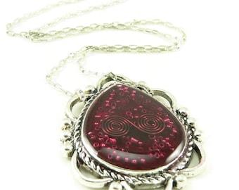 Orgone Energy Ornate Teardrop Reversible Pendant Necklace - Orgone Energy Jewelry - Red Garnet Gemstone Necklace - Artisan Jewelry