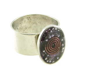 Orgone Energy Ring with Purple Amethyst - Small Oval Cocktail Ring - Adjustable Ring - Orgone Energy Jewelry - Artisan Jewelry
