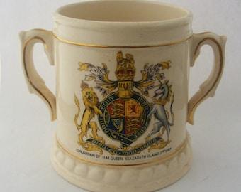 Vintage Staffordshire Coronation loving cup Queen Elizabeth 1953