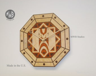 "12"" octagon inlaid art deco wall clock.  WC-21 Free shipping."
