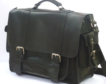 "Leather briefcase / Messenger / 17"" Laptop bag / Women/Men black leather business bag"