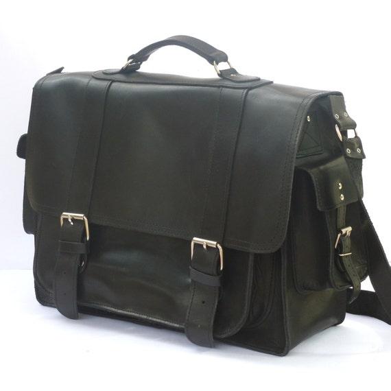 "Leather briefcase / Messenger / 17"" Laptop bag / Women/Men black leather business bag"