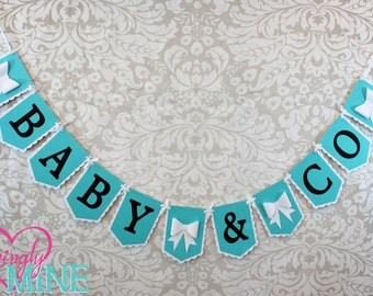 Custom Banners | Baby & Co Banner Sign | Light Teal, Black and White | Baby Shower Decor | Bridal Shower | Birthday | Robin Egg Blue | Aqua